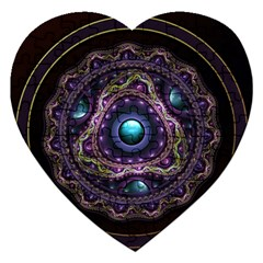 Beautiful Turquoise and Amethyst Fractal Jewelry Jigsaw Puzzle (Heart)