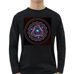 Beautiful Turquoise and Amethyst Fractal Jewelry Long Sleeve Dark T-Shirts