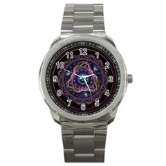 Beautiful Turquoise and Amethyst Fractal Jewelry Sport Metal Watch