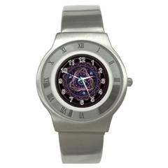 Beautiful Turquoise and Amethyst Fractal Jewelry Stainless Steel Watch