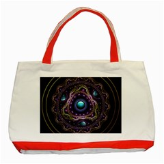 Beautiful Turquoise and Amethyst Fractal Jewelry Classic Tote Bag (Red)
