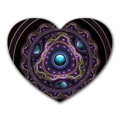 Beautiful Turquoise and Amethyst Fractal Jewelry Heart Mousepads