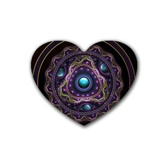 Beautiful Turquoise And Amethyst Fractal Jewelry Rubber Coaster (heart)