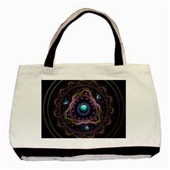 Beautiful Turquoise and Amethyst Fractal Jewelry Basic Tote Bag (Two Sides)