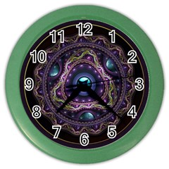 Beautiful Turquoise and Amethyst Fractal Jewelry Color Wall Clocks