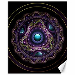 Beautiful Turquoise and Amethyst Fractal Jewelry Canvas 11  x 14