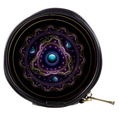 Beautiful Turquoise and Amethyst Fractal Jewelry Mini Makeup Bags
