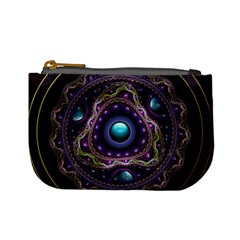 Beautiful Turquoise and Amethyst Fractal Jewelry Mini Coin Purses