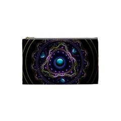 Beautiful Turquoise and Amethyst Fractal Jewelry Cosmetic Bag (Small)