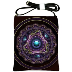 Beautiful Turquoise and Amethyst Fractal Jewelry Shoulder Sling Bags