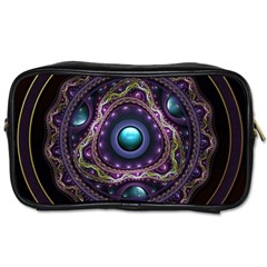 Beautiful Turquoise and Amethyst Fractal Jewelry Toiletries Bags 2-Side