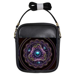 Beautiful Turquoise and Amethyst Fractal Jewelry Girls Sling Bags