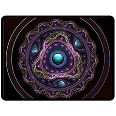 Beautiful Turquoise and Amethyst Fractal Jewelry Fleece Blanket (Large)