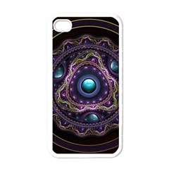 Beautiful Turquoise and Amethyst Fractal Jewelry Apple iPhone 4 Case (White)