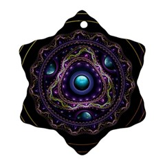 Beautiful Turquoise and Amethyst Fractal Jewelry Snowflake Ornament (Two Sides)