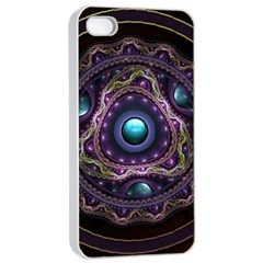 Beautiful Turquoise and Amethyst Fractal Jewelry Apple iPhone 4/4s Seamless Case (White)
