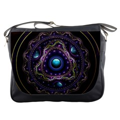 Beautiful Turquoise and Amethyst Fractal Jewelry Messenger Bags