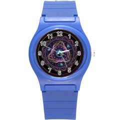 Beautiful Turquoise and Amethyst Fractal Jewelry Round Plastic Sport Watch (S)