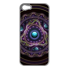 Beautiful Turquoise and Amethyst Fractal Jewelry Apple iPhone 5 Case (Silver)
