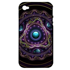 Beautiful Turquoise and Amethyst Fractal Jewelry Apple iPhone 4/4S Hardshell Case (PC+Silicone)