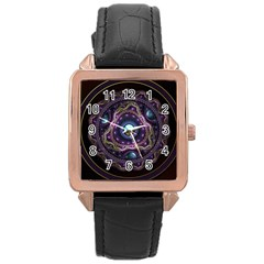 Beautiful Turquoise and Amethyst Fractal Jewelry Rose Gold Leather Watch
