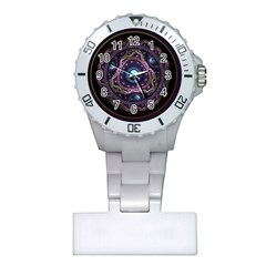 Beautiful Turquoise and Amethyst Fractal Jewelry Plastic Nurses Watch