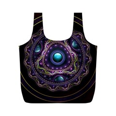 Beautiful Turquoise and Amethyst Fractal Jewelry Full Print Recycle Bags (M)