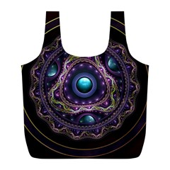 Beautiful Turquoise and Amethyst Fractal Jewelry Full Print Recycle Bags (L)