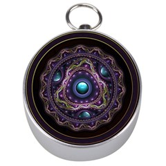 Beautiful Turquoise and Amethyst Fractal Jewelry Silver Compasses
