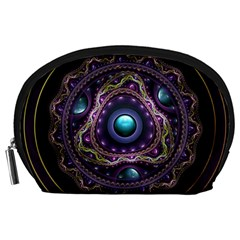 Beautiful Turquoise and Amethyst Fractal Jewelry Accessory Pouches (Large)