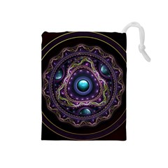 Beautiful Turquoise and Amethyst Fractal Jewelry Drawstring Pouches (Medium)