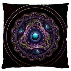 Beautiful Turquoise and Amethyst Fractal Jewelry Large Flano Cushion Case (One Side)