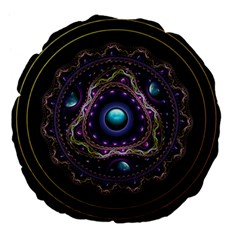 Beautiful Turquoise and Amethyst Fractal Jewelry Large 18  Premium Flano Round Cushions