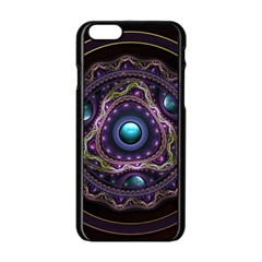 Beautiful Turquoise and Amethyst Fractal Jewelry Apple iPhone 6/6S Black Enamel Case