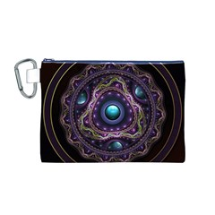 Beautiful Turquoise and Amethyst Fractal Jewelry Canvas Cosmetic Bag (M)