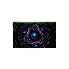 Beautiful Turquoise and Amethyst Fractal Jewelry Cosmetic Bag (XS)