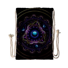 Beautiful Turquoise And Amethyst Fractal Jewelry Drawstring Bag (small)