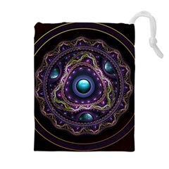 Beautiful Turquoise and Amethyst Fractal Jewelry Drawstring Pouches (Extra Large)