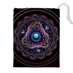 Beautiful Turquoise and Amethyst Fractal Jewelry Drawstring Pouches (XXL)