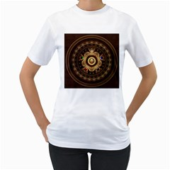 Gathering the Five Fractal Colors Of Magic Women s T-Shirt (White) (Two Sided)