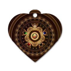 Gathering The Five Fractal Colors Of Magic Dog Tag Heart (one Side)