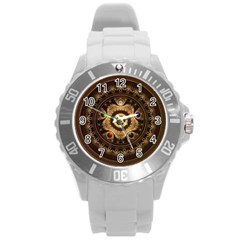 Gathering the Five Fractal Colors Of Magic Round Plastic Sport Watch (L)