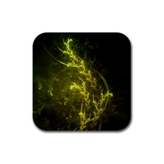Beautiful Emerald Fairy Ferns in a Fractal Forest Rubber Square Coaster (4 pack)