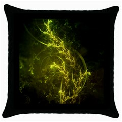 Beautiful Emerald Fairy Ferns in a Fractal Forest Throw Pillow Case (Black)
