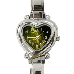 Beautiful Emerald Fairy Ferns in a Fractal Forest Heart Italian Charm Watch