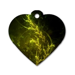 Beautiful Emerald Fairy Ferns in a Fractal Forest Dog Tag Heart (One Side)