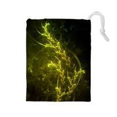 Beautiful Emerald Fairy Ferns in a Fractal Forest Drawstring Pouches (Large)