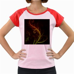 Fractal Hybrid Of Guzmania Tuti Fruitti and Ferns Women s Cap Sleeve T-Shirt