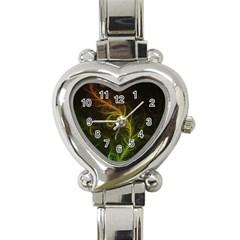 Fractal Hybrid Of Guzmania Tuti Fruitti and Ferns Heart Italian Charm Watch