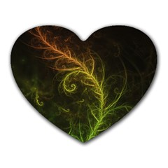 Fractal Hybrid Of Guzmania Tuti Fruitti and Ferns Heart Mousepads